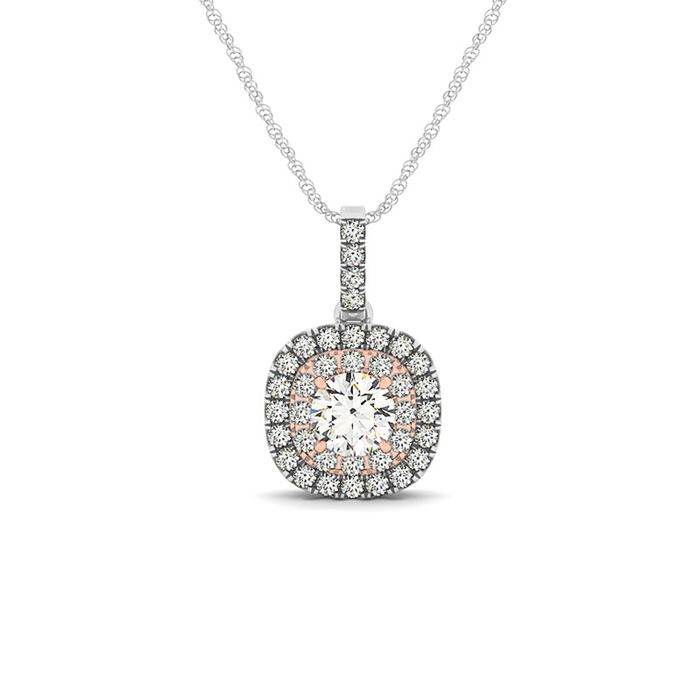 2 Tone Double Halo Diamond Pendant