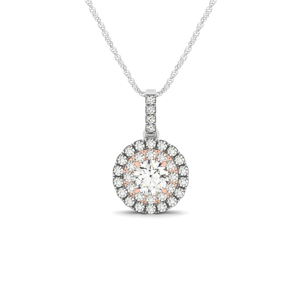 2 Tone Double Round Halo Diamond Necklace