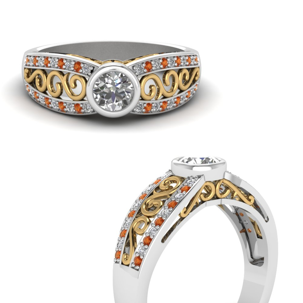2 tone filigree diamond engagement ring with orange sapphire in FD64933RORGSAORANGLE3 NL WG