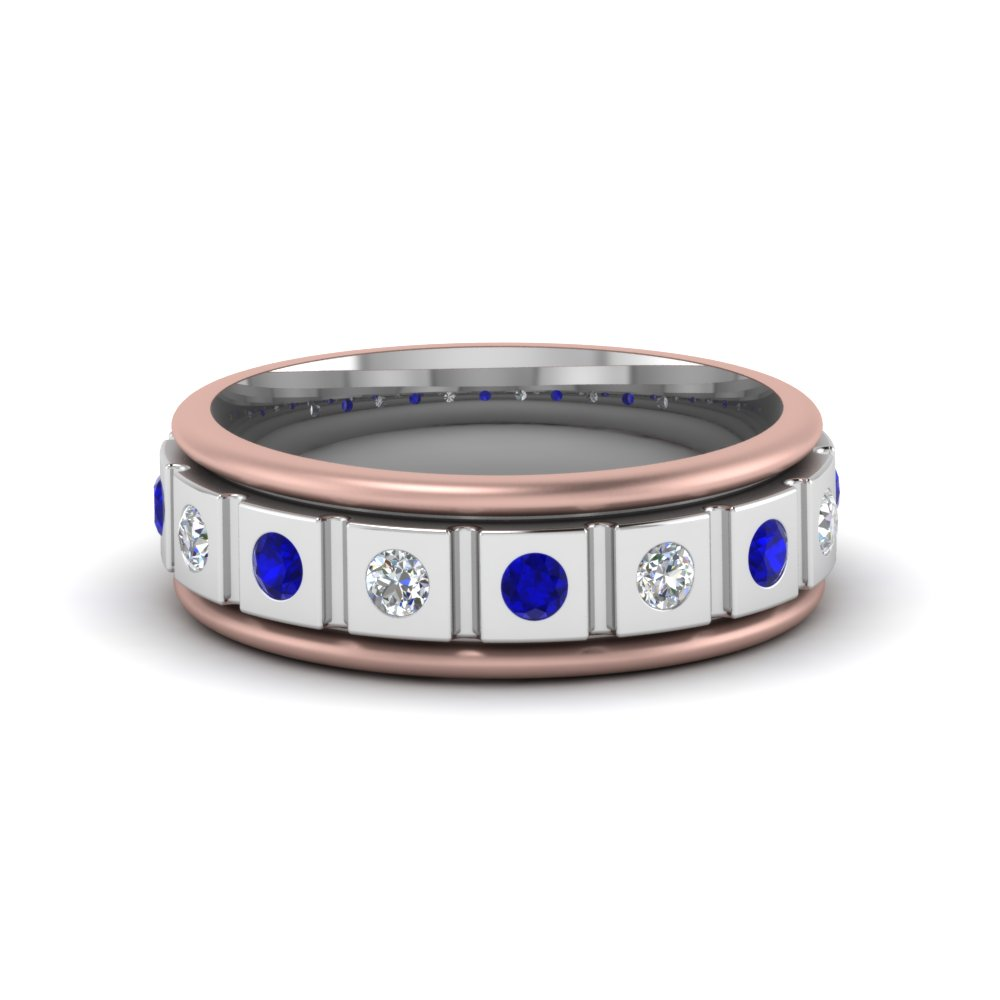 2 tone mens band diamonds with blue sapphire in FDM8311BGSABL NL WG