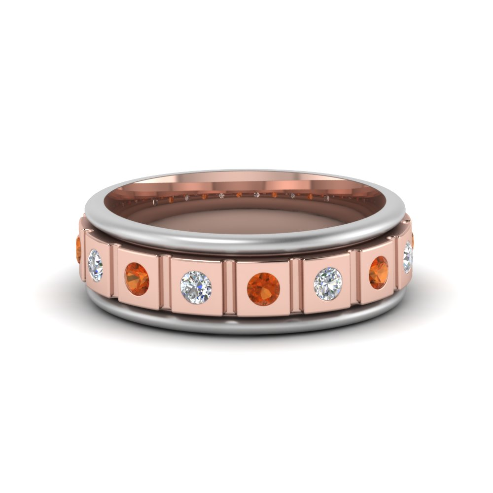 Orange Sapphire Mens Wedding Bands