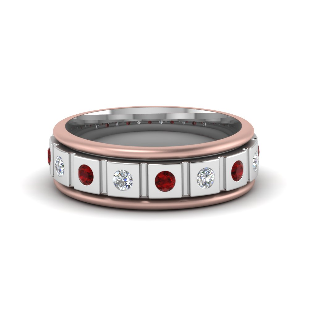2 tone mens band diamonds with ruby in FDM8311BGRUDR NL WG