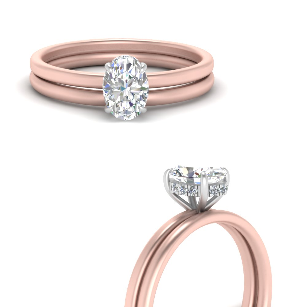 2 Tone Oval Shaped Thin Diamond Bridal Set In 14k Rose Gold Fascinating Diamonds