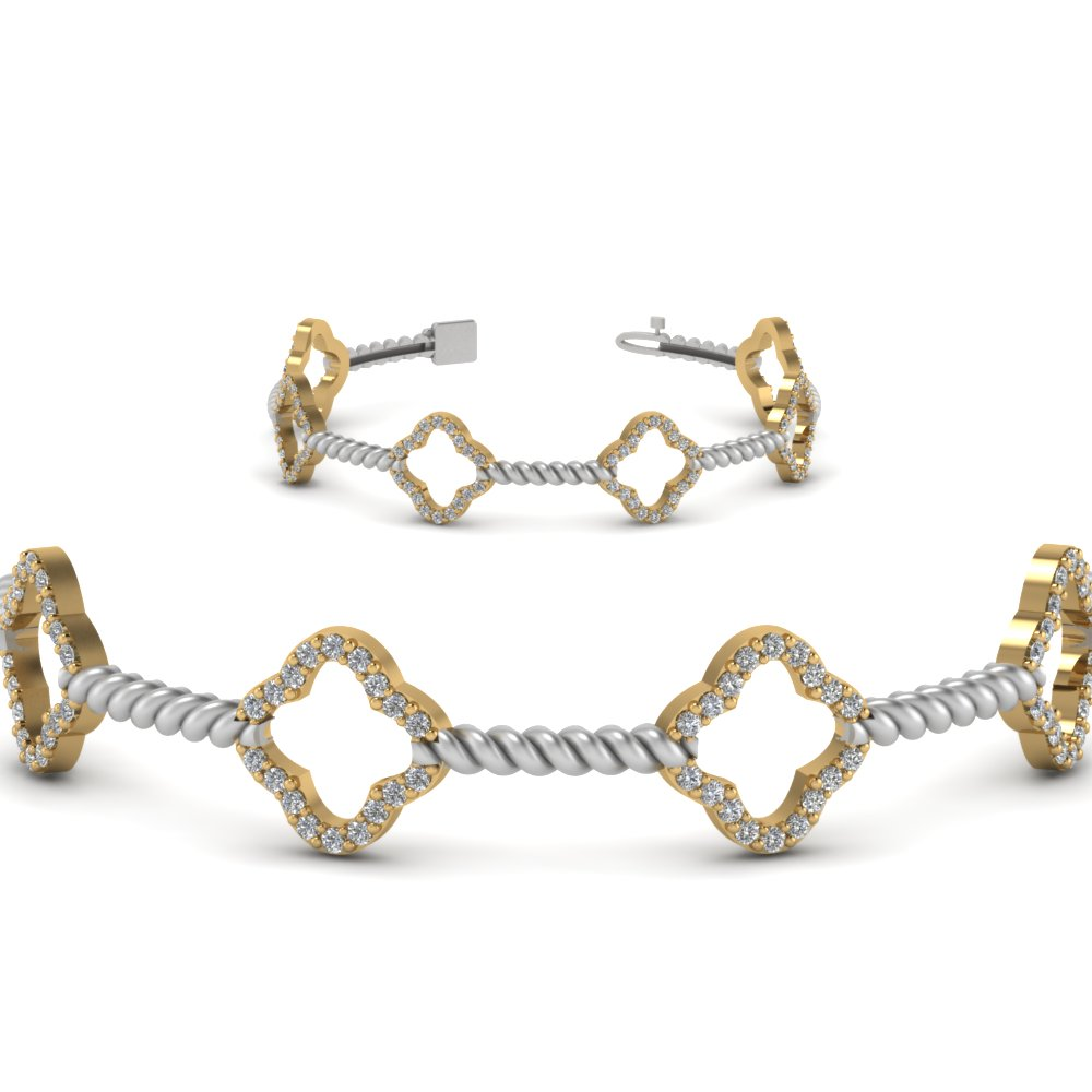 2 tone rope style bracelet diamond anniversary gifts in 14K yellow gold FDOBR70340ANGLE2 NL YG