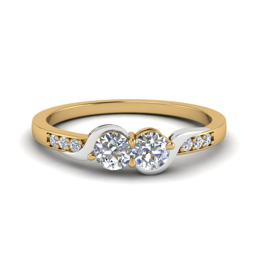 2 tone swirl diamond band in 14K yellow gold FD84792ROR NL YG