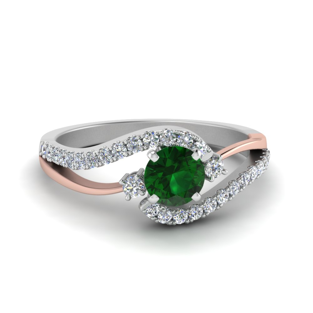 2 tone swirl round emerald with diamond ring in FDO50895RORGEM NL WG