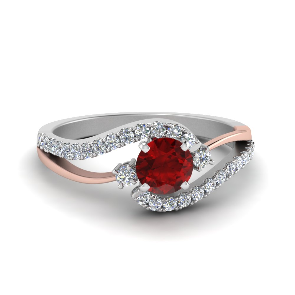 2 tone swirl round ruby with diamond ring in FDO50895RORGRD NL WG