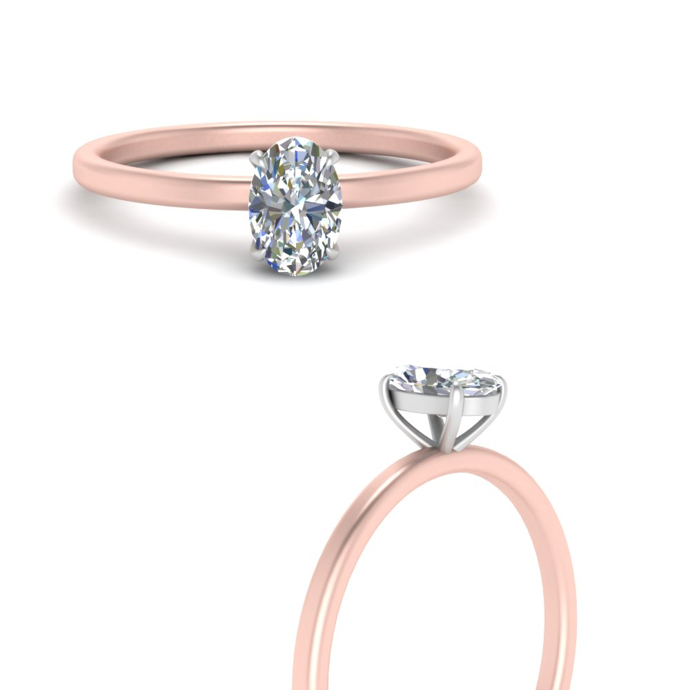 2 Tone Thin Oval Shaped Solitaire Engagement Ring In 14k Rose Gold Fascinating Diamonds