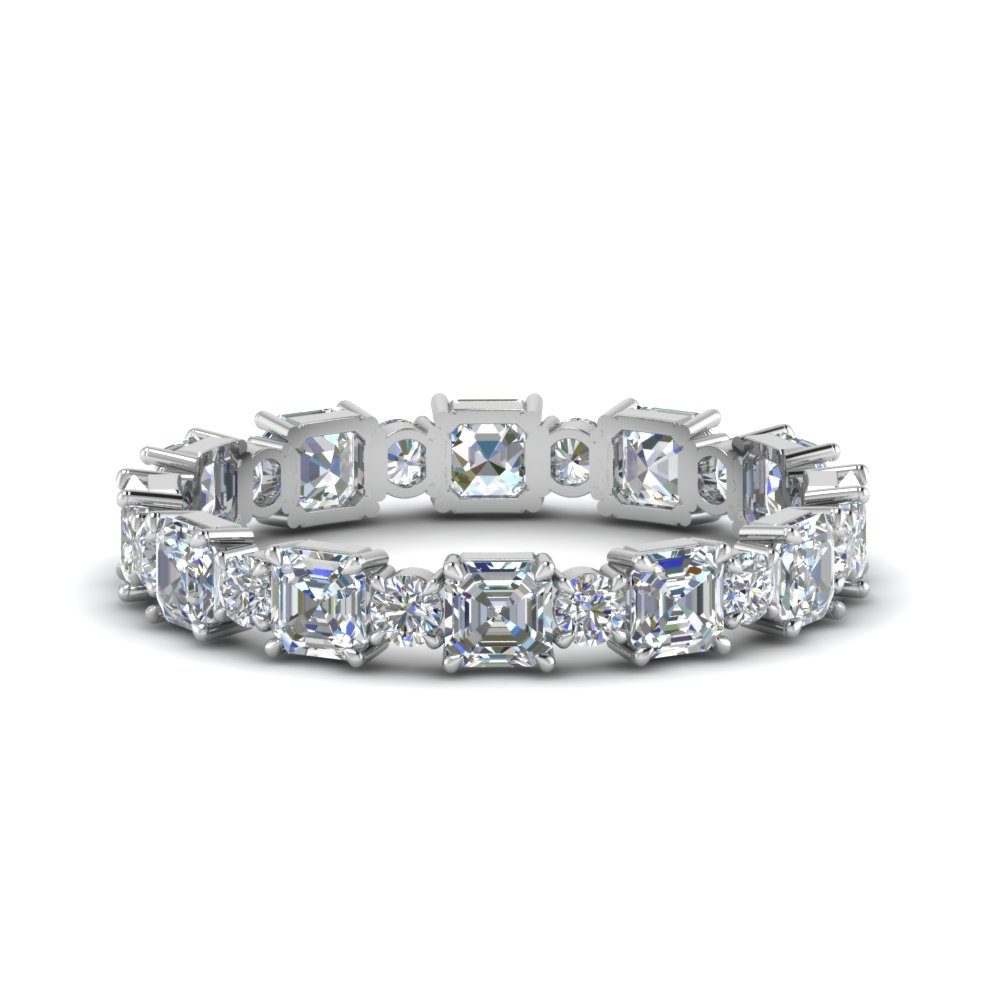 2.25 Ct. Asscher And Round Diamond Band