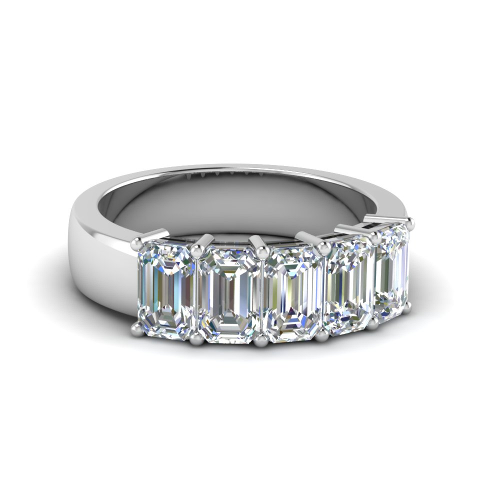 5 Stone Emerald Cut Band 2.5 Ct
