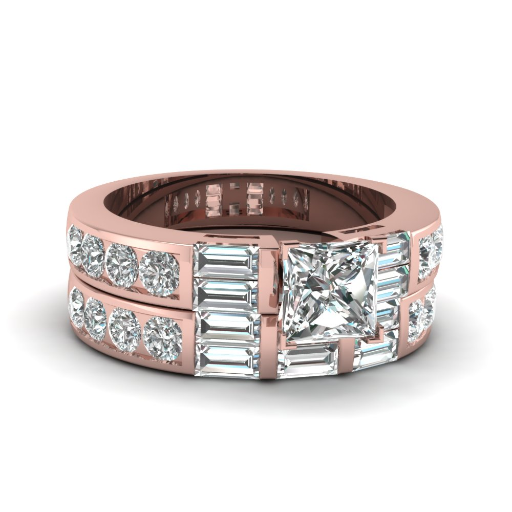 Top styles of expensive wedding rings fascinating diamonds 25 ct princess cut and baguette diamond bridal set junglespirit Gallery
