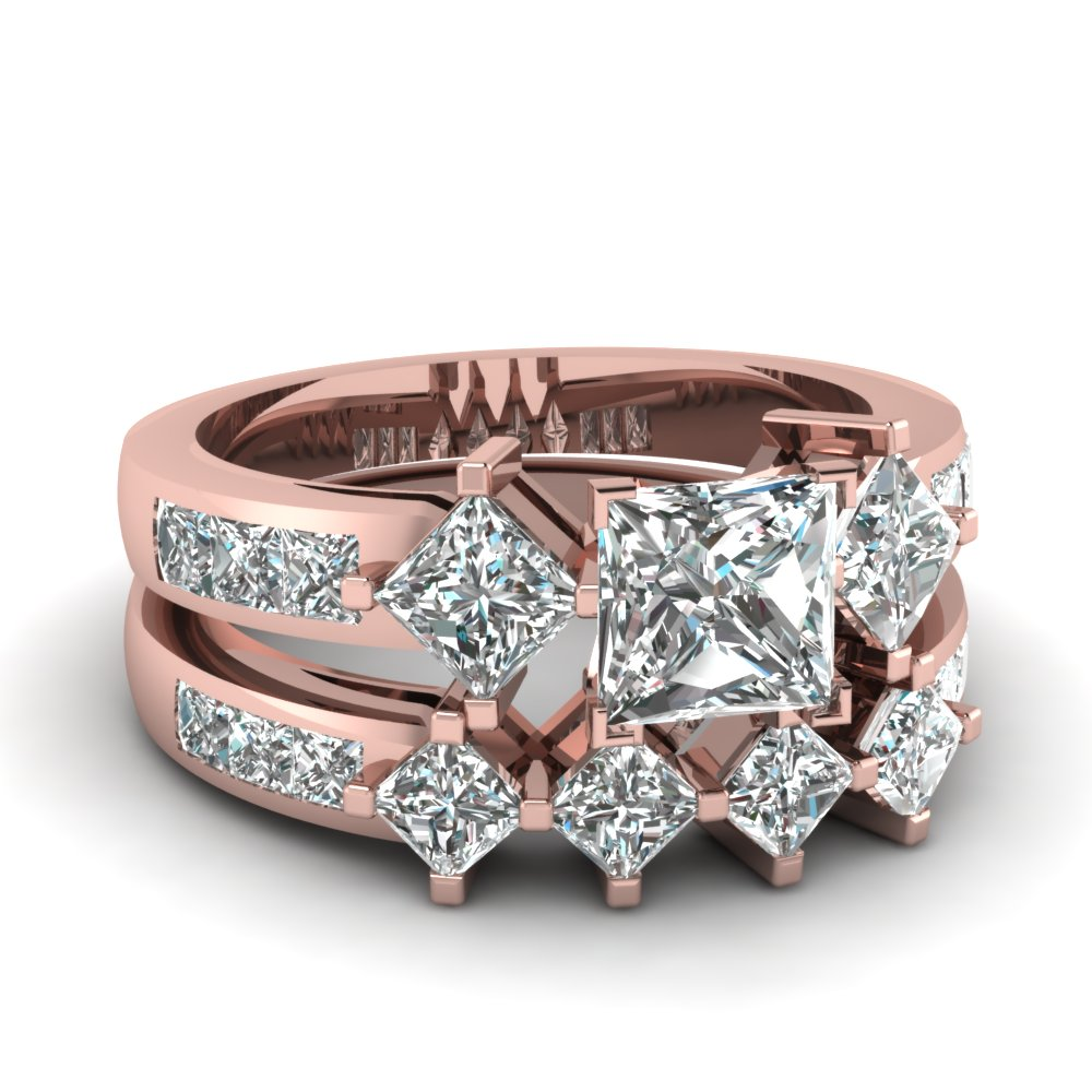 2.5 ct princess cut diamond kite set wedding ring sets in 14K rose gold FDENS208PR NL RG