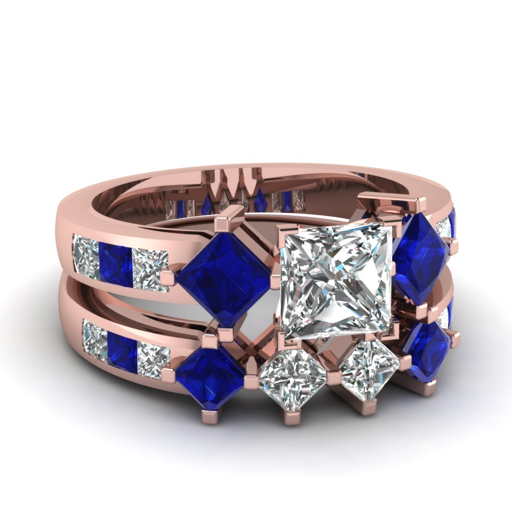 Blue sapphire fascinating diamonds for Blue sapphire wedding ring set
