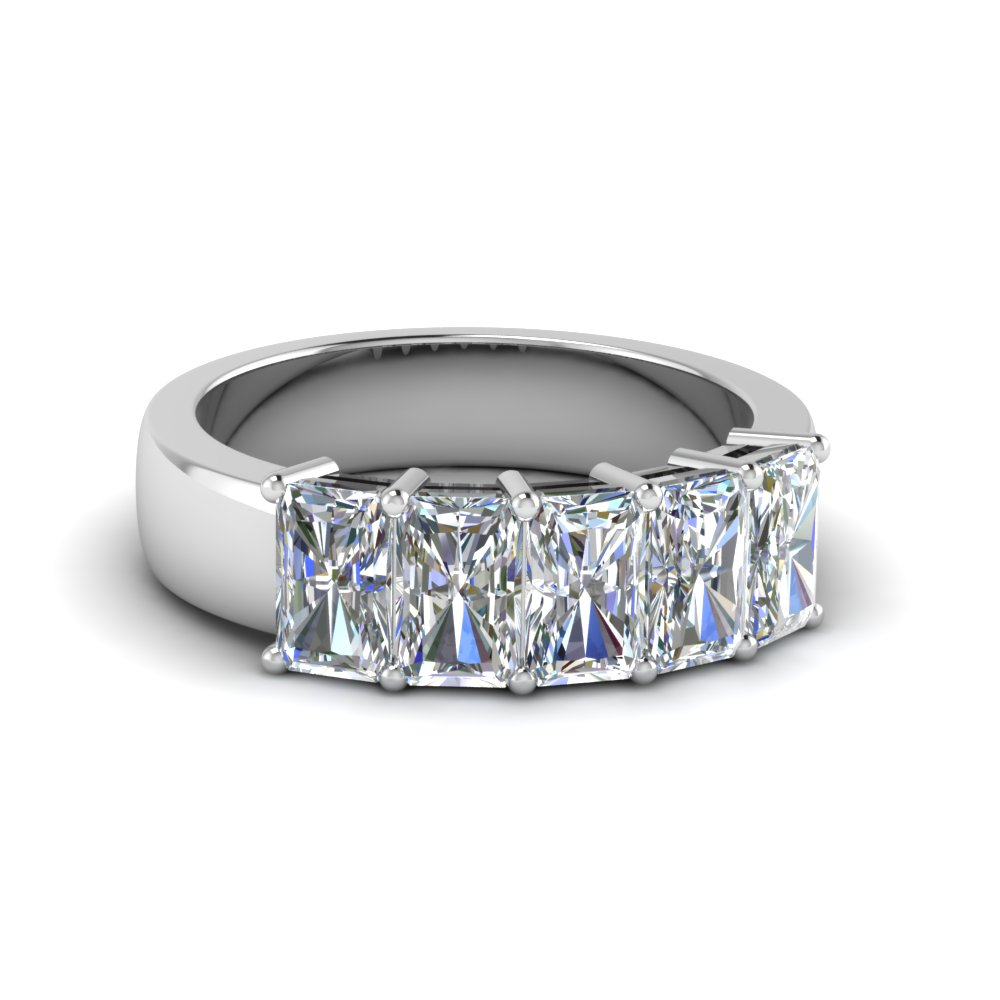 Radiant Cut 5 Stone Wedding Band