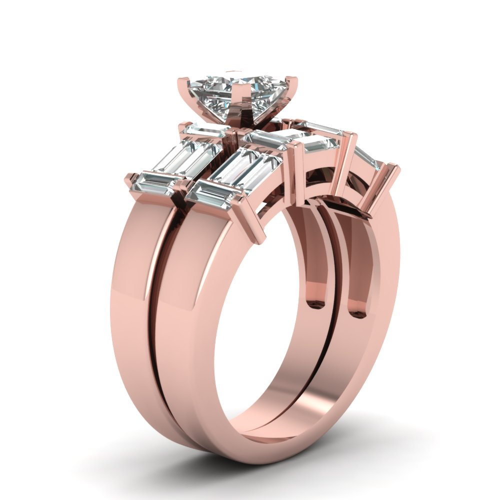 2.5 Ct. Princess Cut And Baguette Diamond Big Wedding Ring Sets In ...