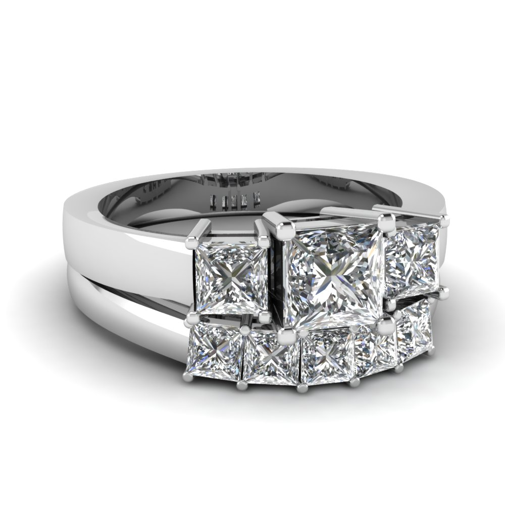 25 CtPrincess Cut Diamond Wedding Ring Sets In 14K White Gold