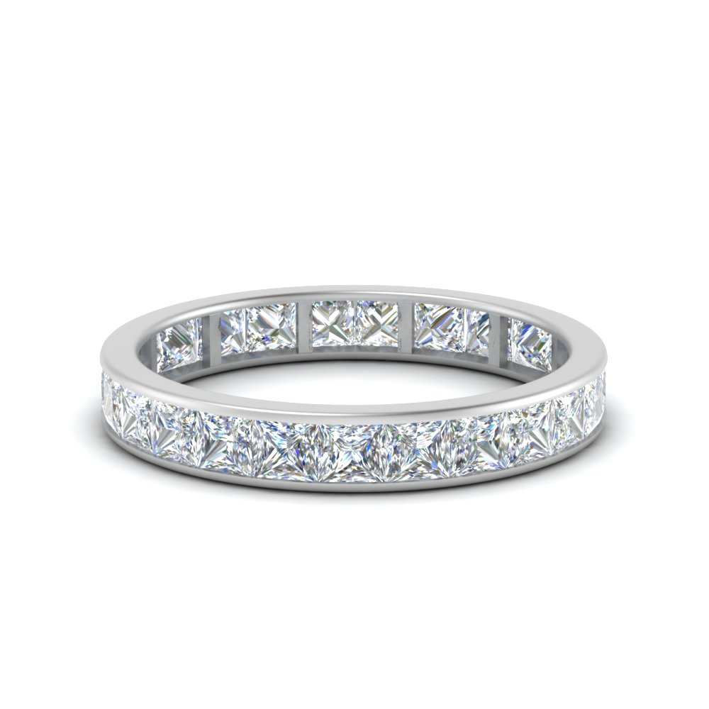 2.50 carat princess diamond channel eternity band in FDEWB8384 2.50CTB NL WG