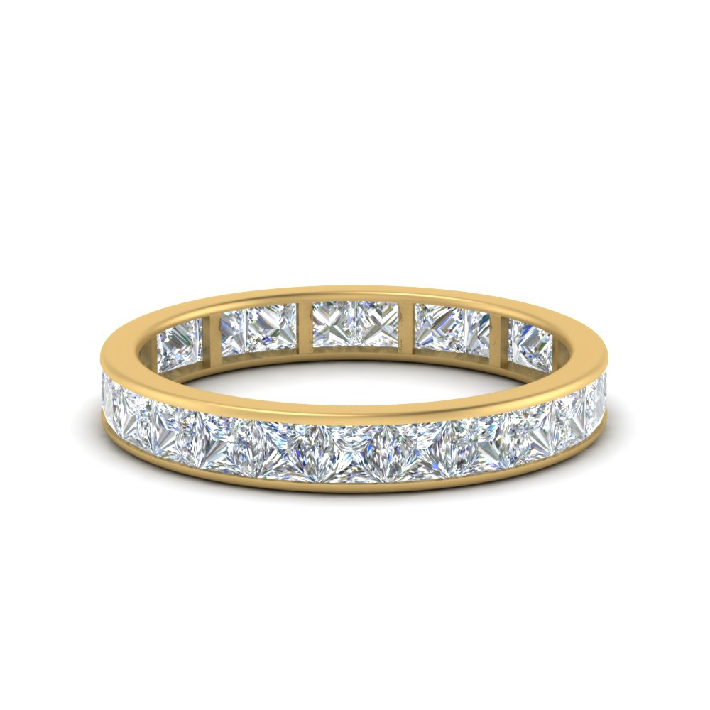 2.50 carat princess diamond channel eternity band in FDEWB8384 2.50CTB NL YG