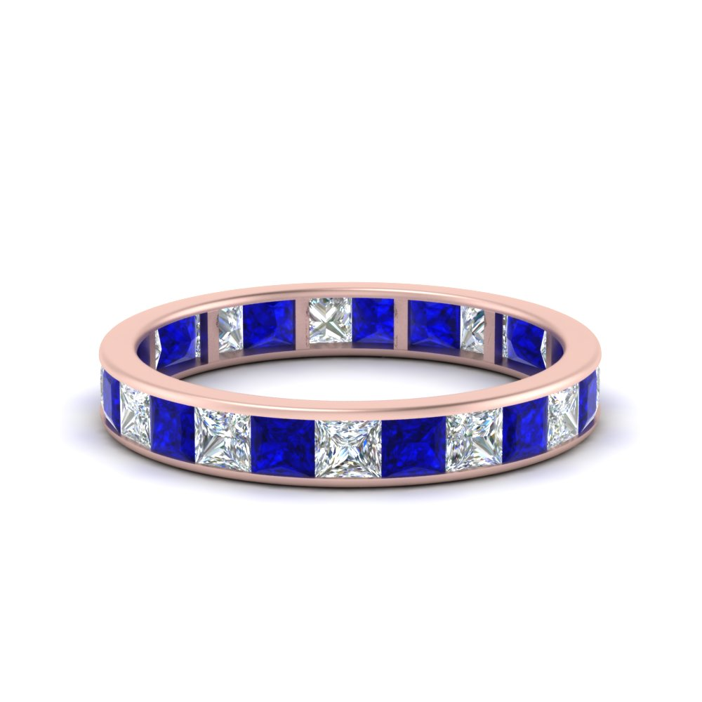 2.50 carat princess diamond channel eternity band with blue sapphire in FDEWB8384 2.50CTBGSABL NL RG