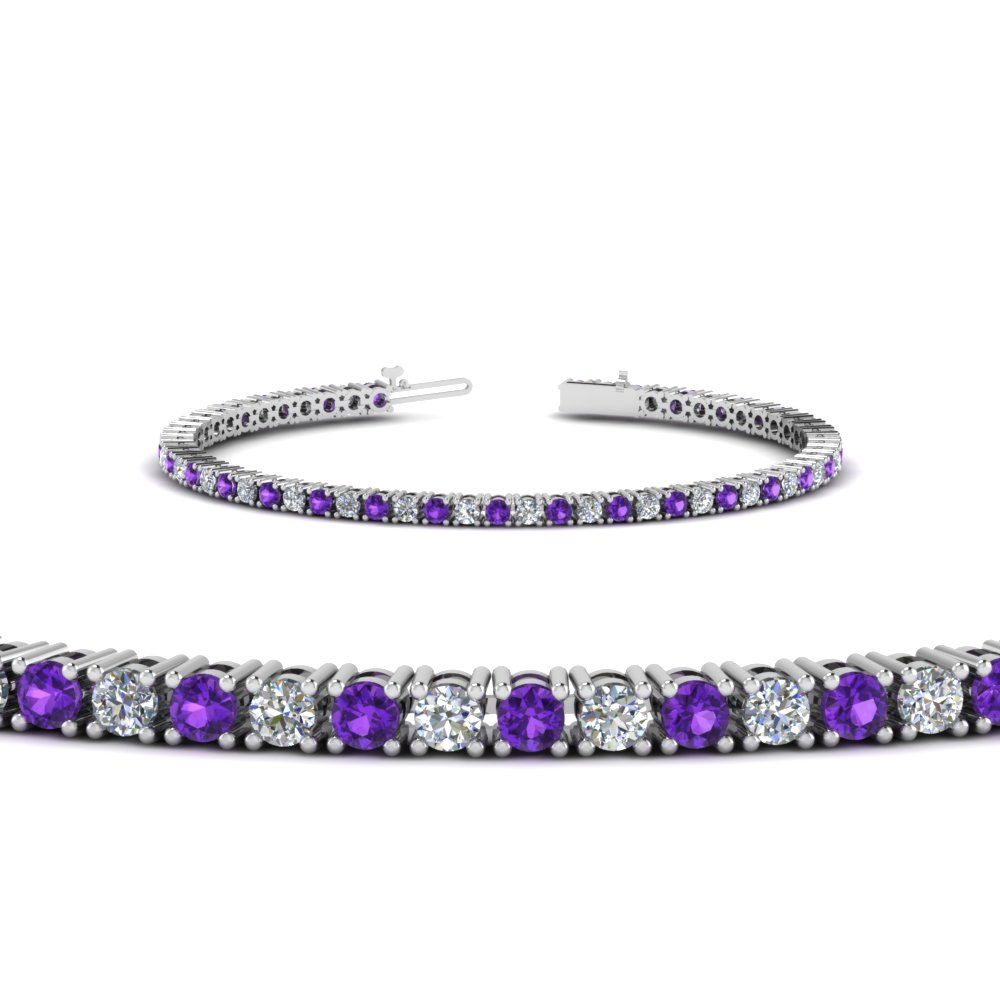 Purple Topaz 3 Ct. Diamond Bracelet