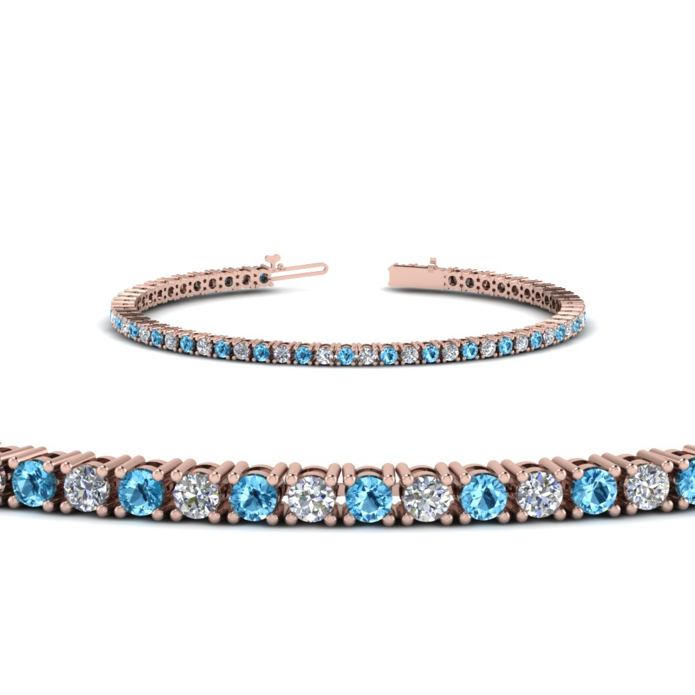 Blue Topaz Diamond Tennis Bracelet