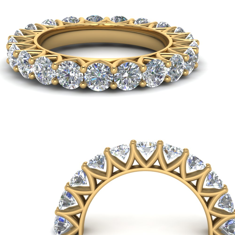 Round Diamond 14K Gold Eternity Band