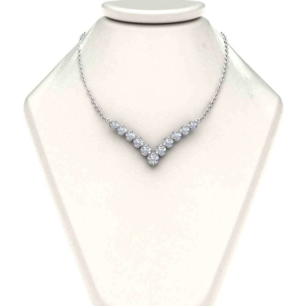 product round diamond necklace tennis ct bezel graduated inch p half
