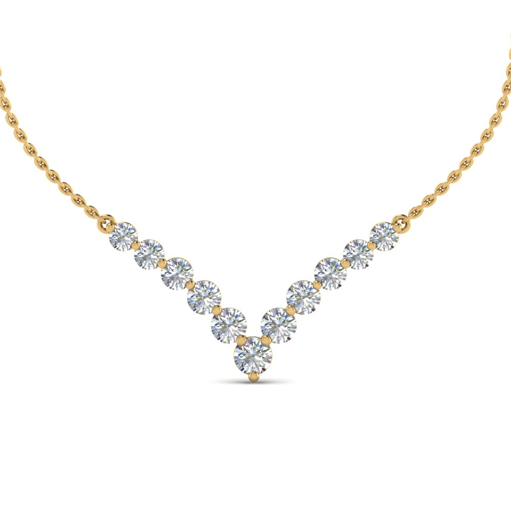 Round Diamond Graduate Gold Necklace
