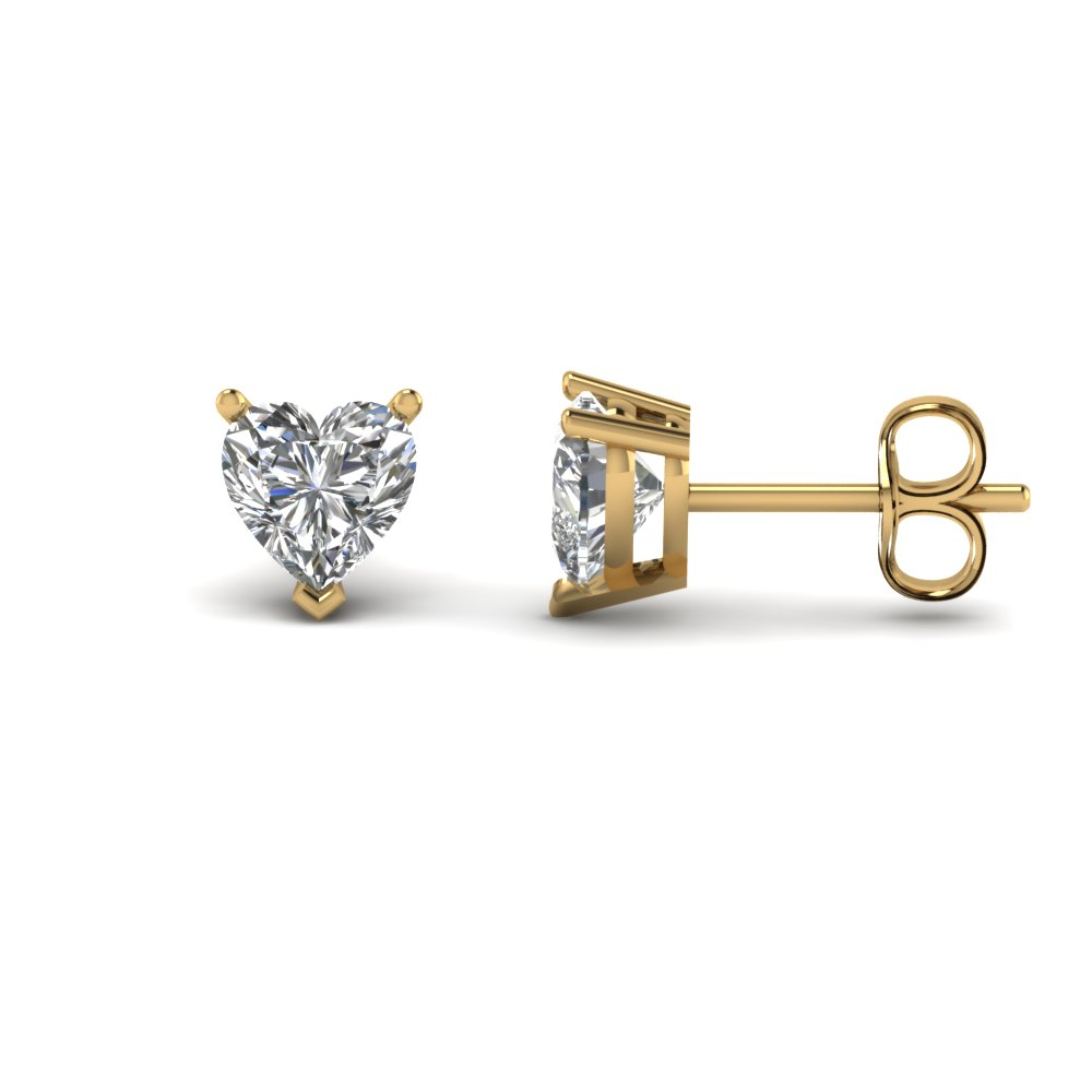 3017c8992 3 Carat Heart Single Stud Earring In 14K Yellow Gold | Fascinating ...