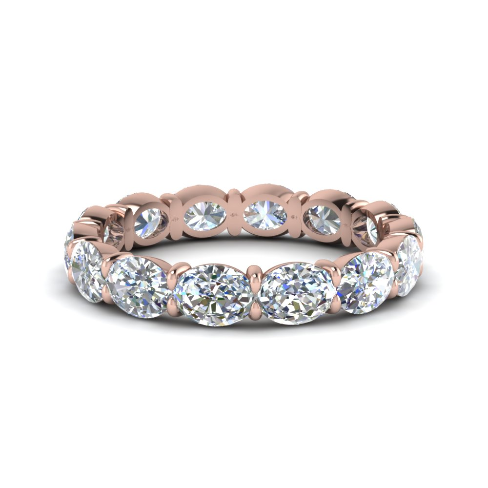 3 Carat Oval Diamond Eternity Ring Diamond Eternity Bands With White Diamond  In 14k Rose Gold