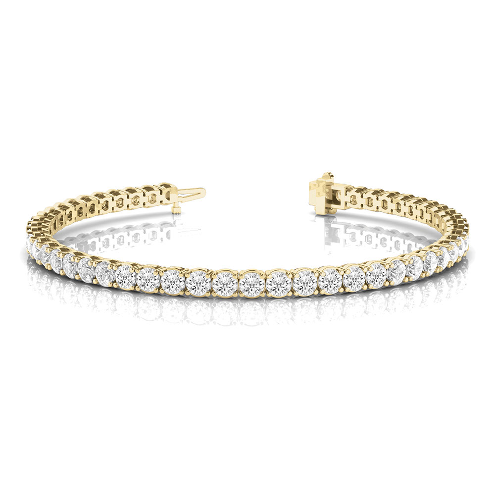 3 carat round diamond tennis eternity bracelet in 14K yellow gold FDOBR70159 NL YG