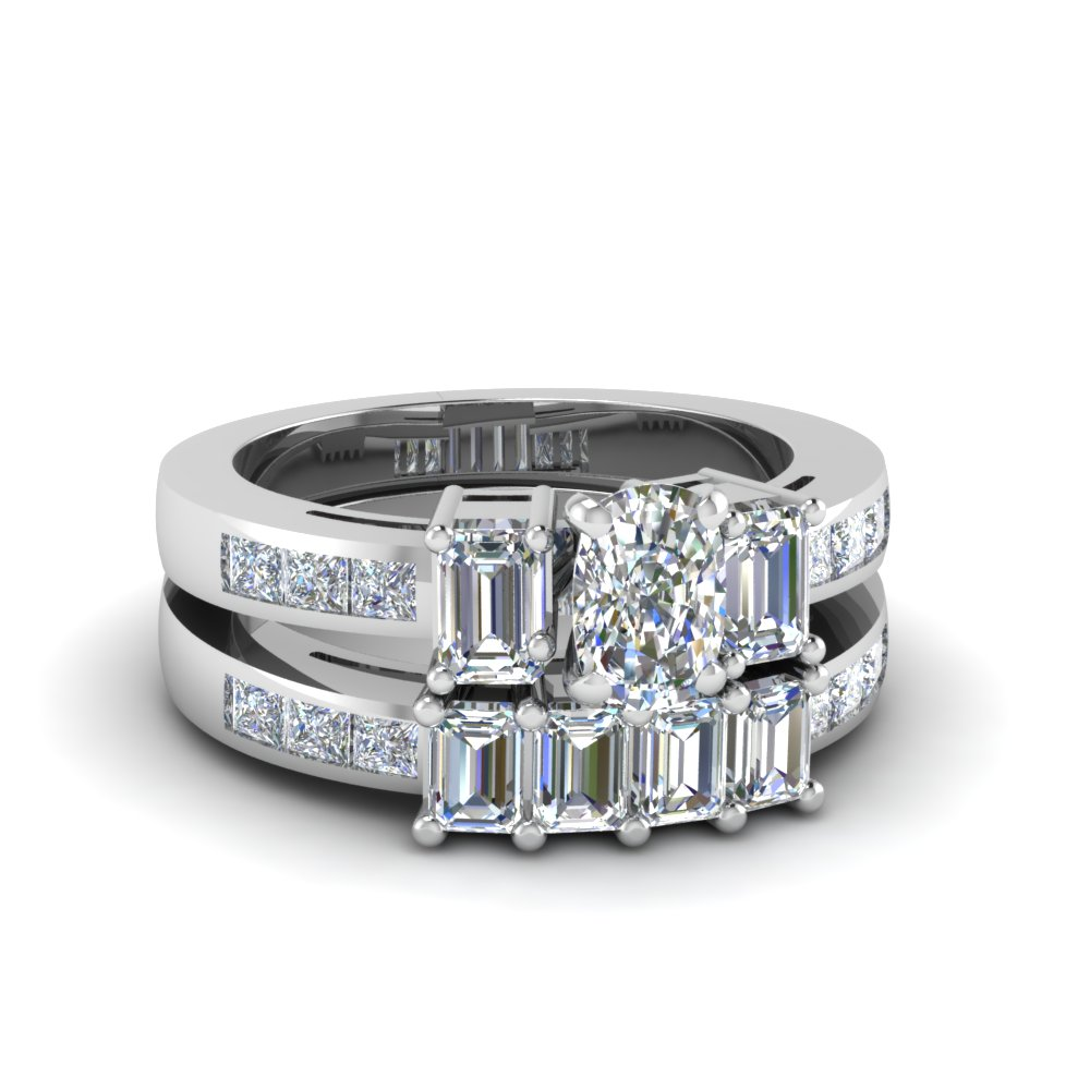 3 Ct. Cushion And Emerald Cut Diamond Wedding Sets