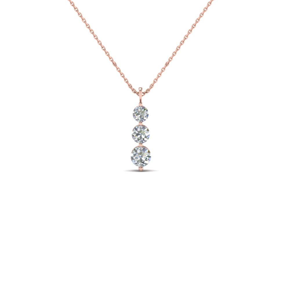 3 diamond drop pendant necklace in 14K rose gold FDPD1090 NL RG