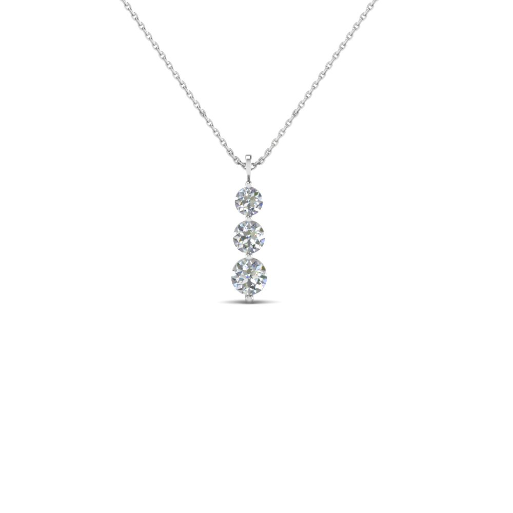 Gold 3 Stone Round Diamond Pendant Necklace