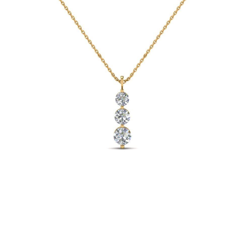 3 diamond drop pendant necklace in 14K yellow gold FDPD1090 NL YG
