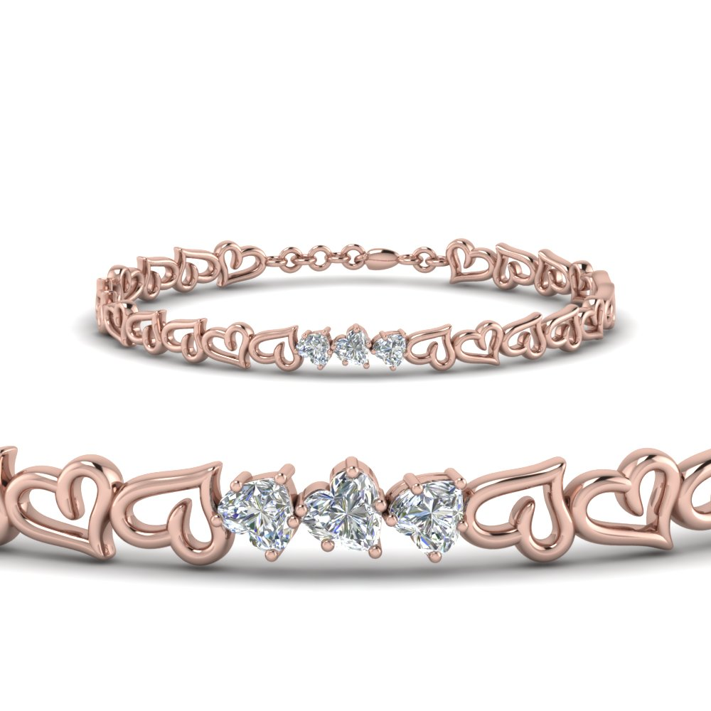 3 heart diamond bracelet in FDBRC8759 NL RG