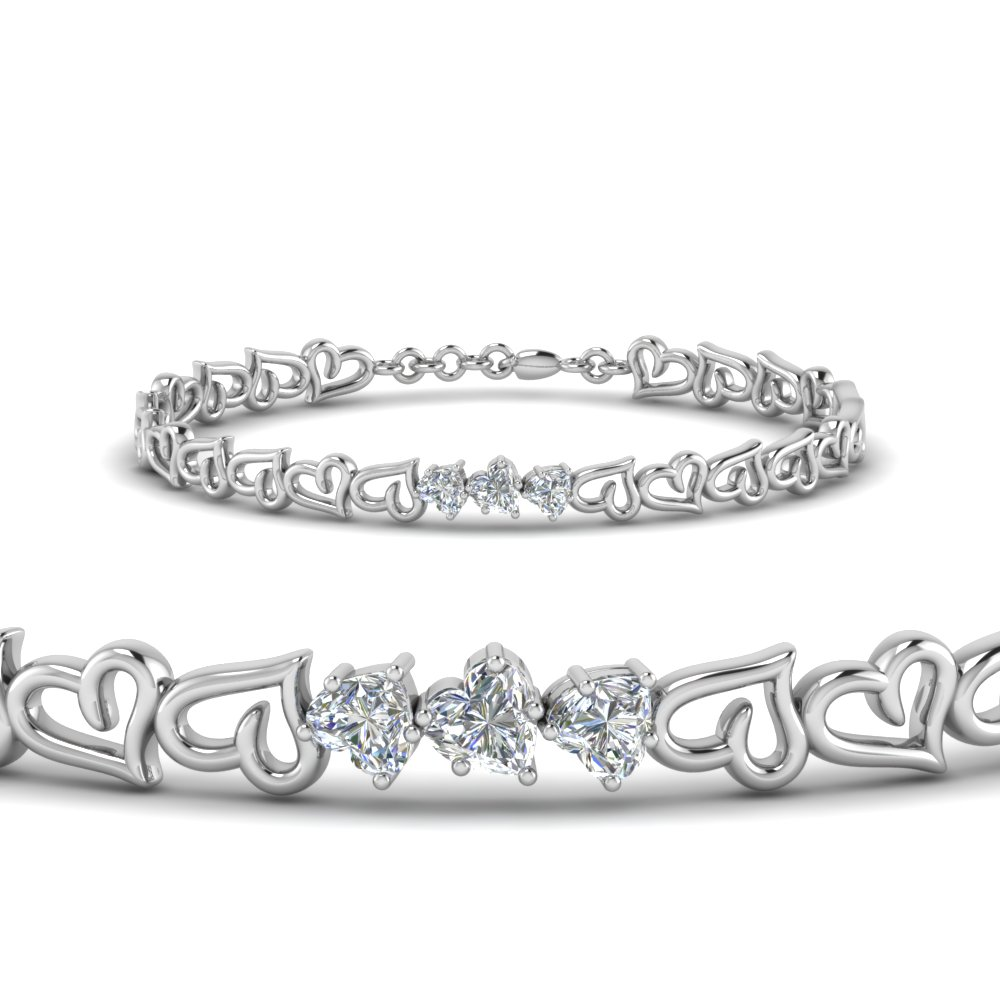 3 heart diamond bracelet in FDBRC8759 NL WG