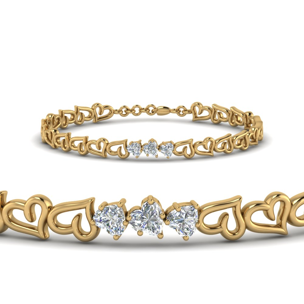 3 Heart Diamond Bracelet In 14K Yellow Gold