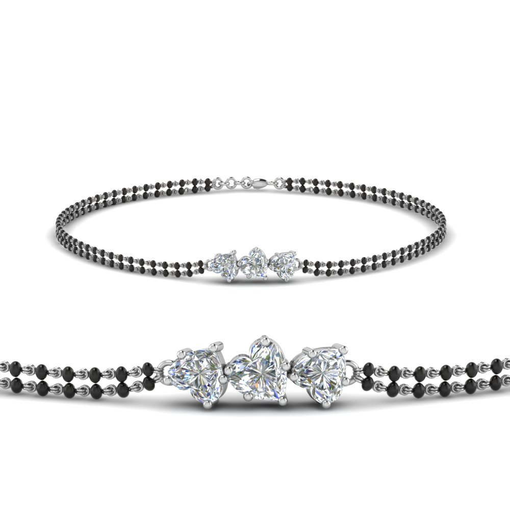14K White Gold Diamond Bracelet Mangalsutra