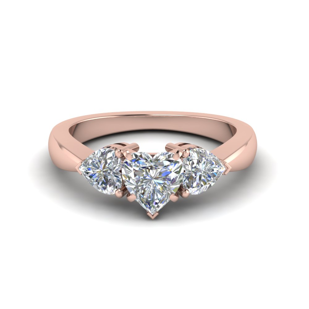 3 heart shaped diamond engagement ring in FD8029HTRANGLE1 NL RG
