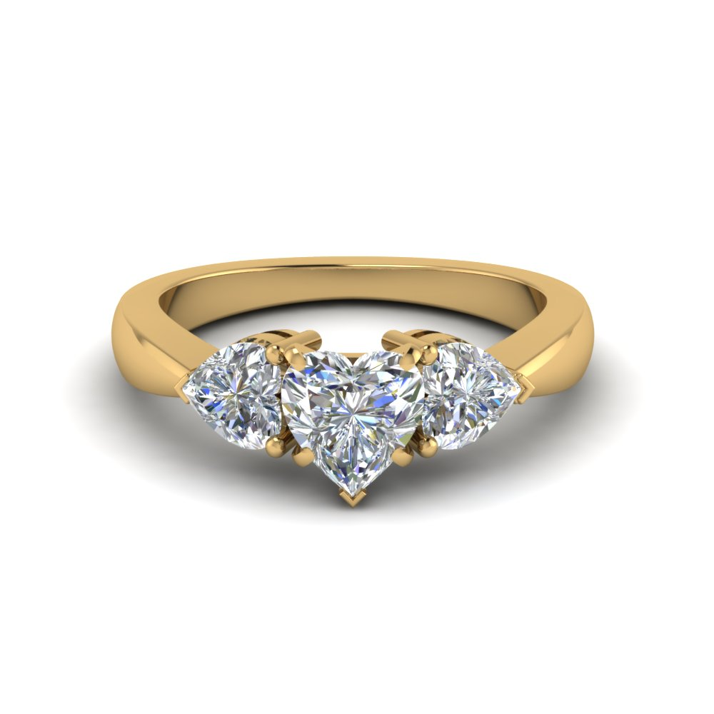 3 heart shaped diamond engagement ring in 14K yellow gold FD8029HTRANGLE1 NL YG