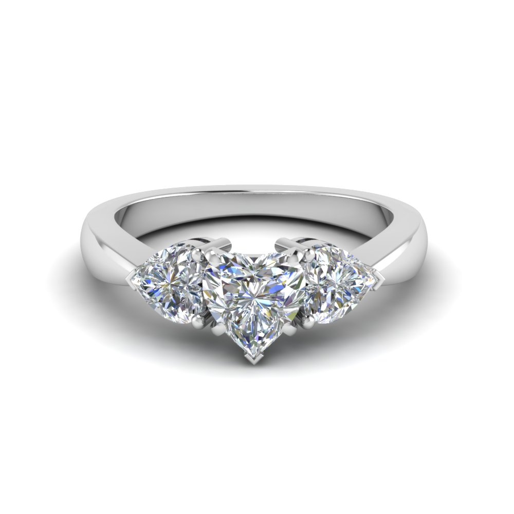 3 Heart Shaped Diamond Engagement Ring In 18k White Gold