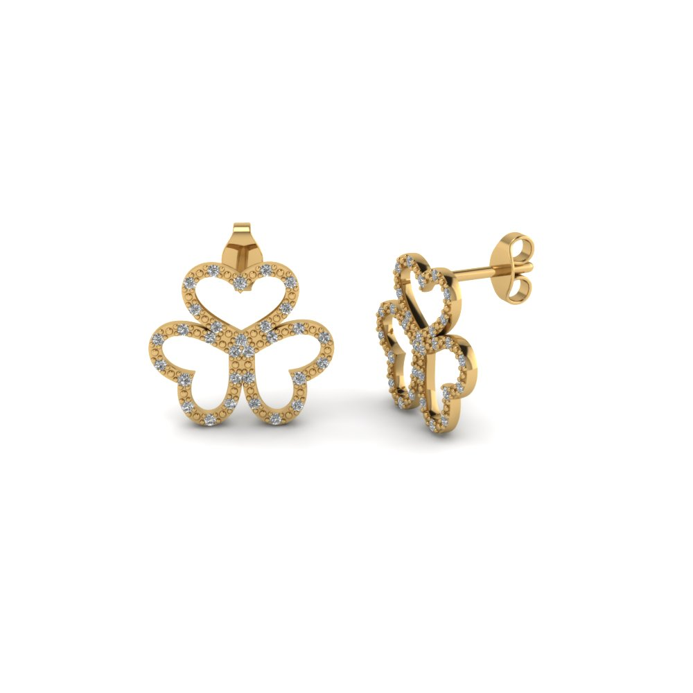 stud clover plated lucky four womens hd rose gold earrings leaf