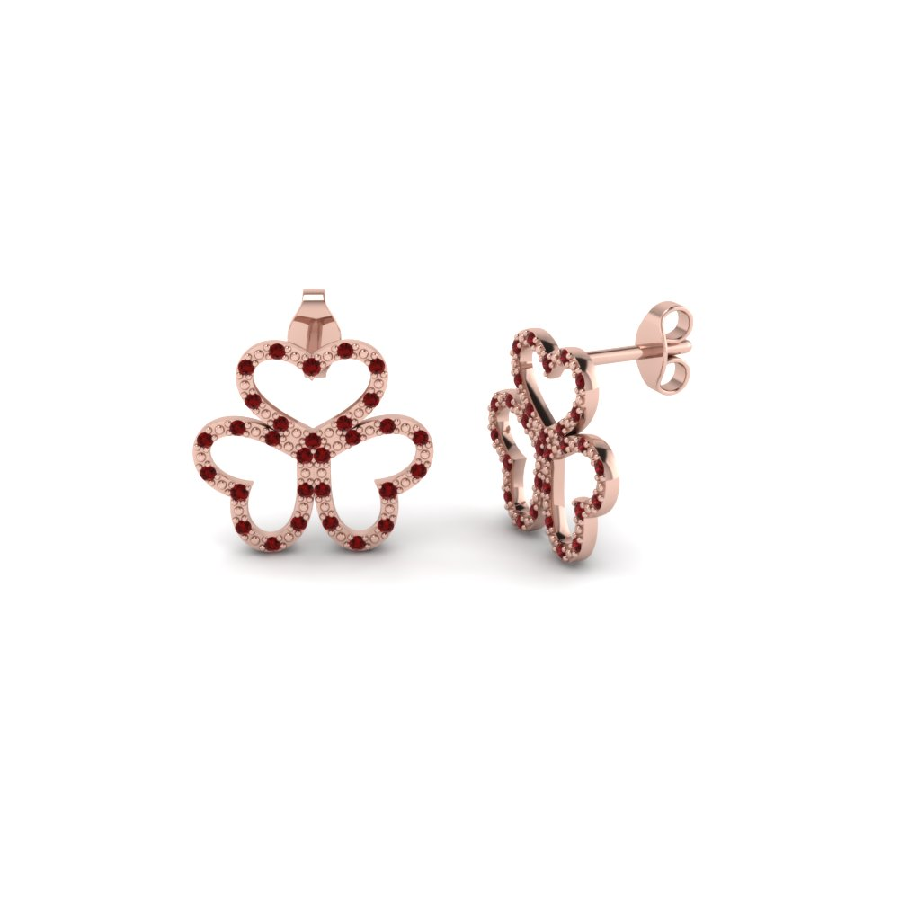 3 Open Heart Round Diamond Stud Earring For Women With Ruby In 14K Rose Gold