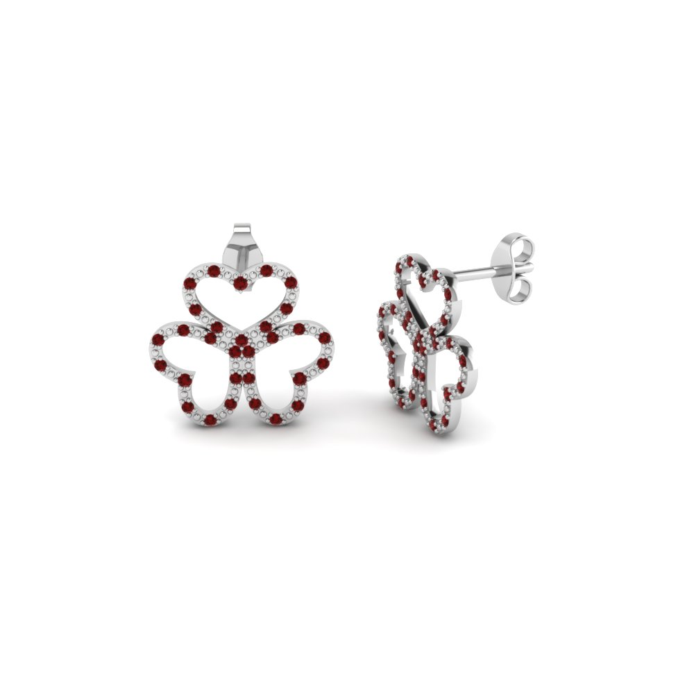 3 open heart ruby stud earring in FDEAR1117GRUDR NL WG