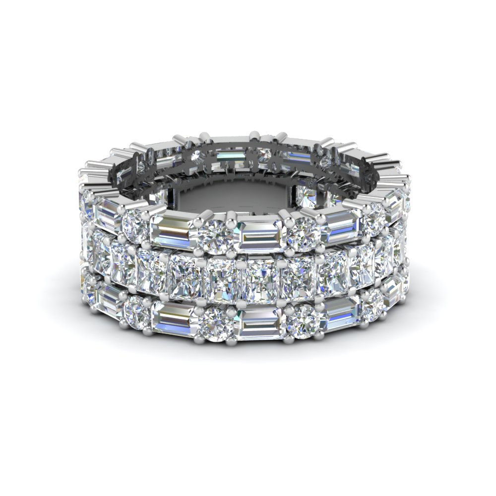 3 Piece Diamond Eternity Anniversary Band
