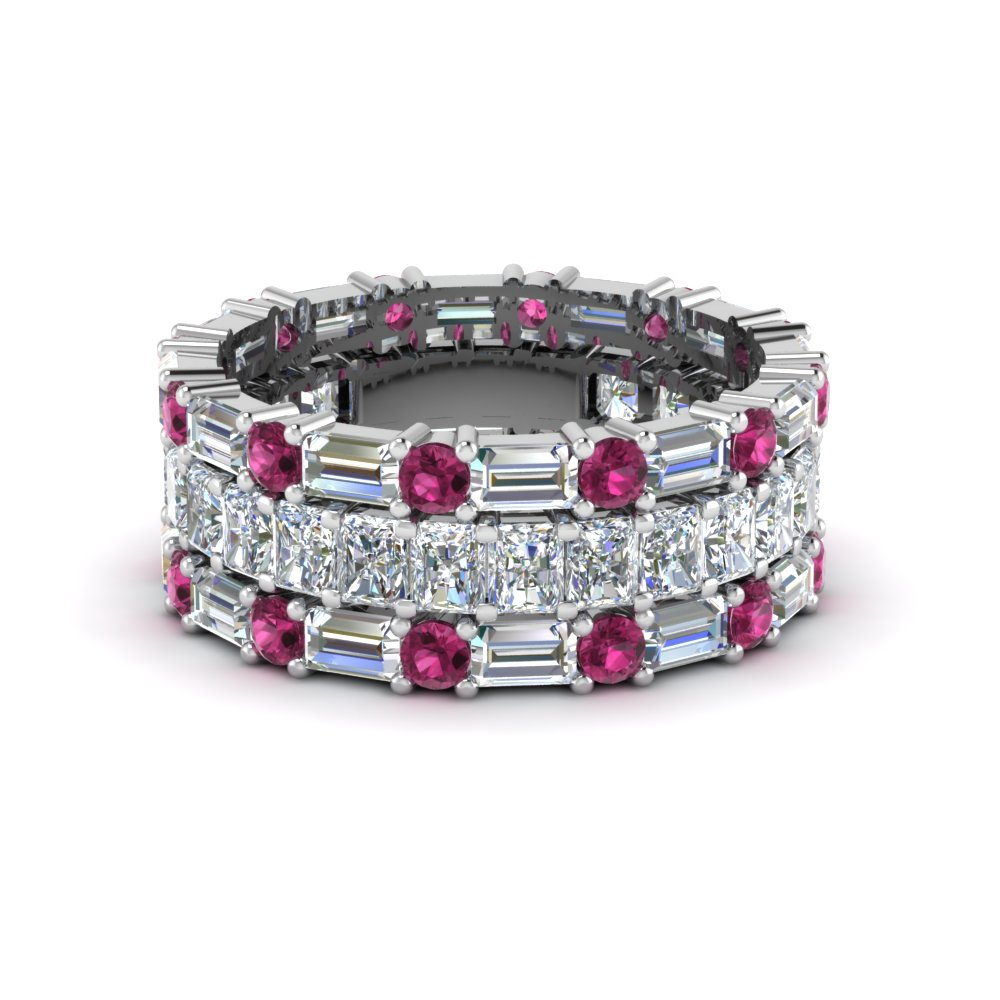 3 piece diamond eternity anniversary band with with pink sapphire in FD8377BGSADRPI NL WG
