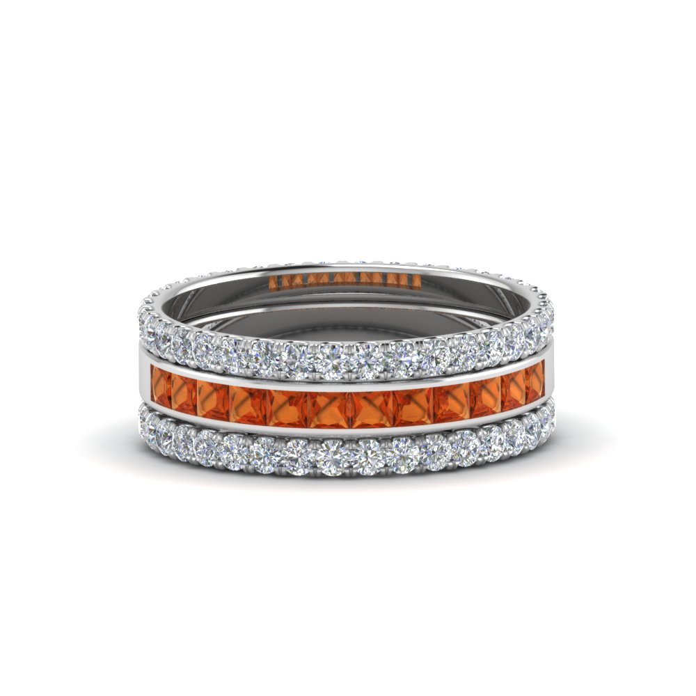 3 piece stackable eternity band with orange sapphire in 14K white gold FD8422BGSAOR NL WG