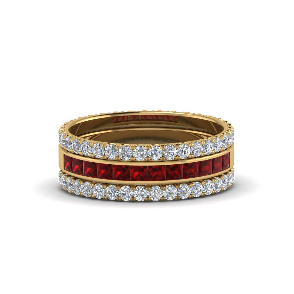 3 Piece Stackable Eternity Band With Ruby In 14K Yellow Gold