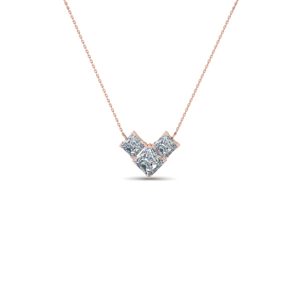 3 Stone 14K Pink Gold Diamond Necklace For Women